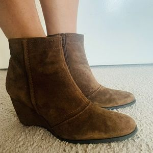 Franco Sarto Brown Leather Suede Booties 8 M Boots